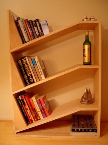 Angled-bookshelf
