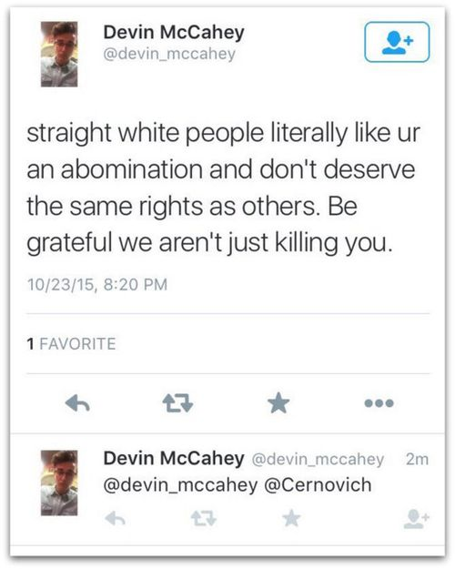Devin McCahey death threats