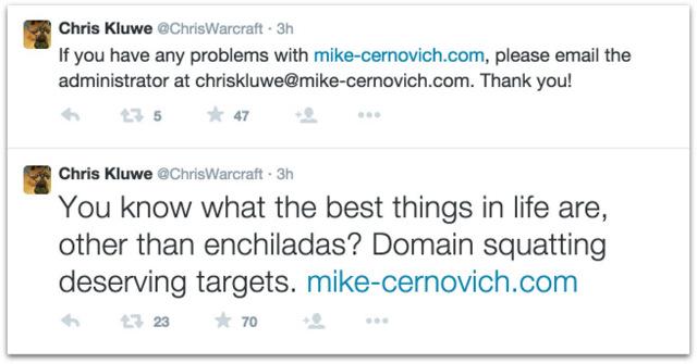 Chris Kluwe cybersquatter